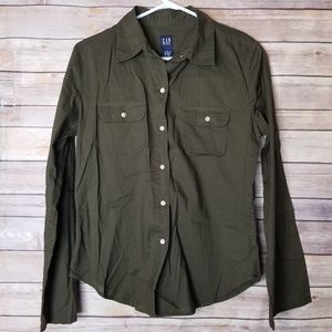 GAP long sleeve button down Olive green top size M